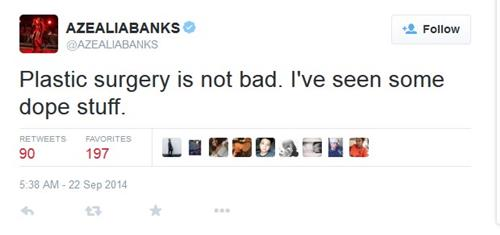 azealia  banks plastic surgery comment