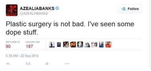 azealia  banks plastic surgery comment